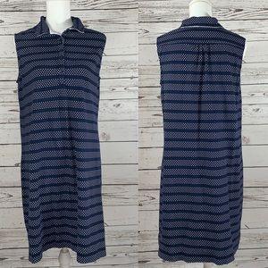 Land's End Navy blue white striped/polka dot dress